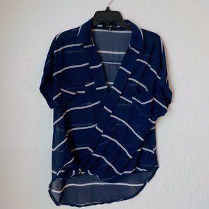 Papaya Blouse M Blue Stripe Twist front Long Back